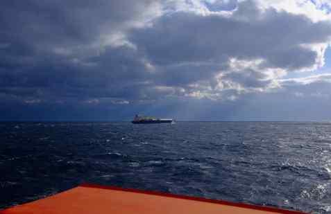 Navire depuis la proue du porte-conteneurs Cap Saint Raphael. Atlantique sud. Daniel Fohr