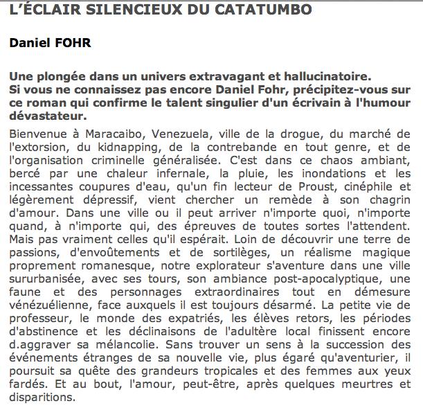 Critique L'éclair silencieux du Catatumbo